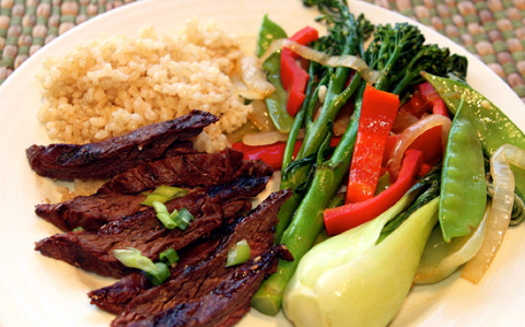 Korean-Skirt-Steak-with-Stir-Fried-Veggies-Brown-Rice