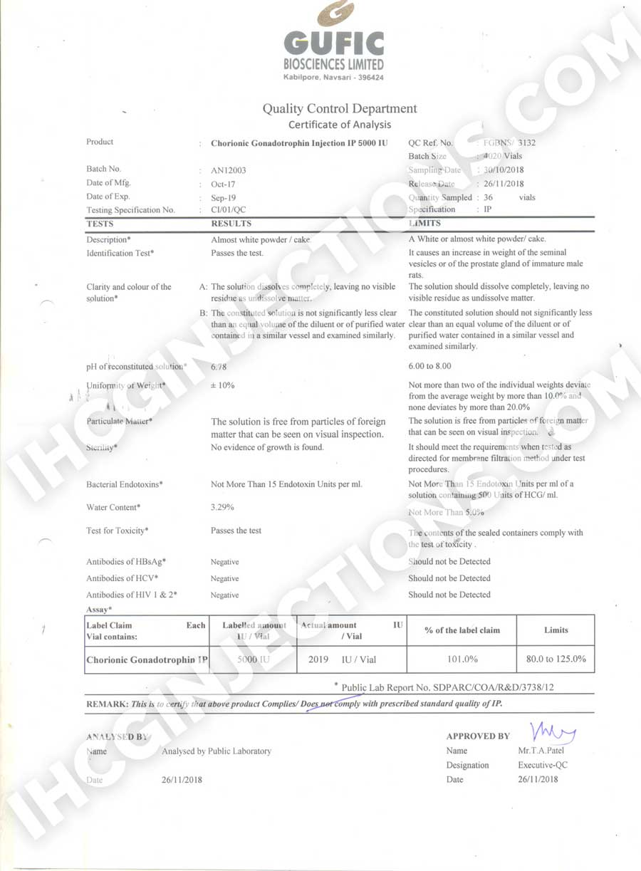 ihcginjections tests the quality of its hcg in regular inervals. this is the certificate of analysis
